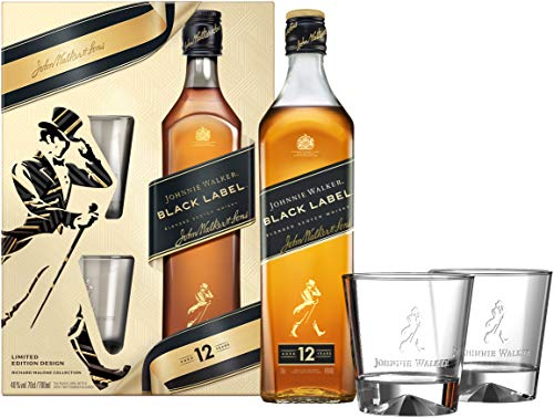 Johnnie Walker Black Label, Geschenkpackung mit 2 GläsernBlended Whisky (1 x 0.7 l), 754411