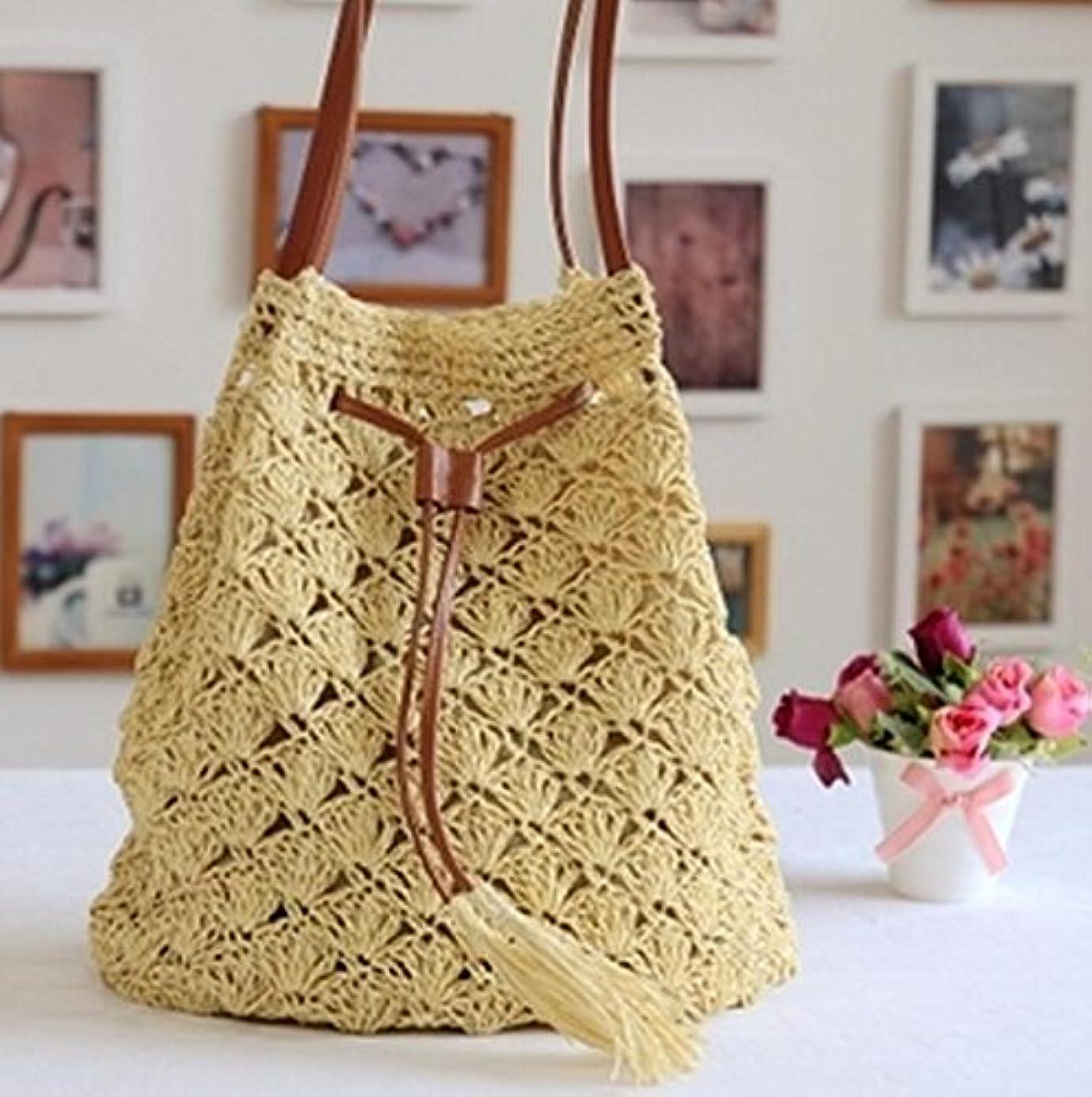 ラフ瀬戸際半径編みバック カゴバッグ 麦わら 肩掛けバッグ 手編みバック  ショルダーバッグ  ビーチバッグ