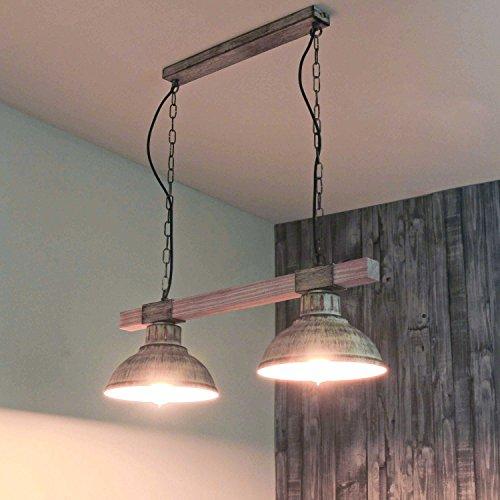 Geschmackvolle Hängeleuchte in Shabby Weiß Holzfarben Vintage Design 2x E27 bis zu 60 Watt 230V aus Metall & Holz Küche Esszimmer Pendelleuchte Hängelampe Pendellampen innen