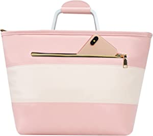 Insulated Lunch Bags For Women, Reusable Thermal Lunch Box With Adjustable Shoulder Strap, Crossbody Totes Food Bag (Pink)