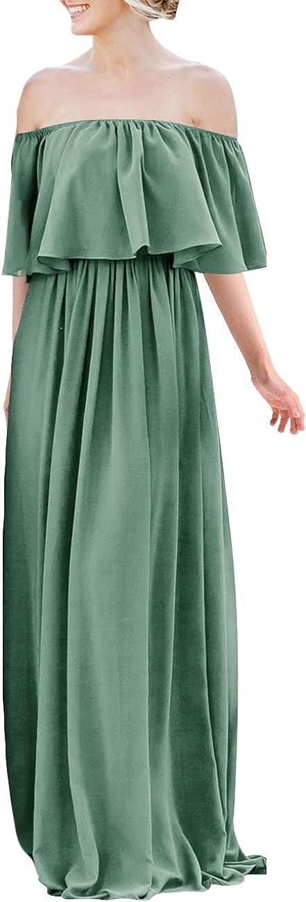 JAEDEN Bridesmaid Dress Chiffon Long Bridesmaid Dresses Off Shoulder Ruffles Prom Dress