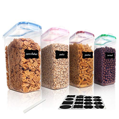 Vtopmart Cereal Storage Container Set BPA Free Plastic Airtight Food Storage Containers 1352oz for Cereal Snacks and Sugar 4 Piece Set Cereal Dispensers with 24 Chalkboard Labels