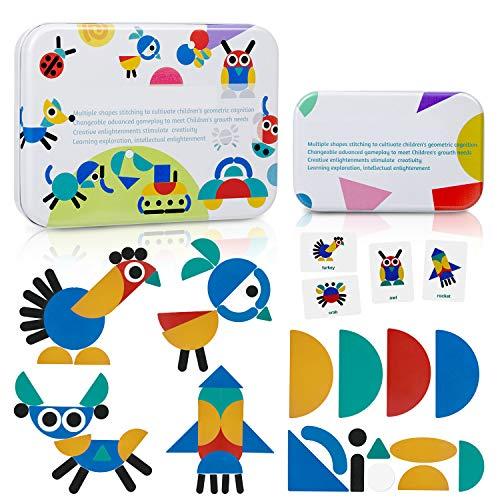 ZWOOS Tangram Madera, Formas y Colores Puzzles de Madera 36 Montessori Puzzle de Madera + 60 PCS Diseño Tarjetas de Apilamientos Juegos y Juguetes Educativos Clasificación de la Infancia