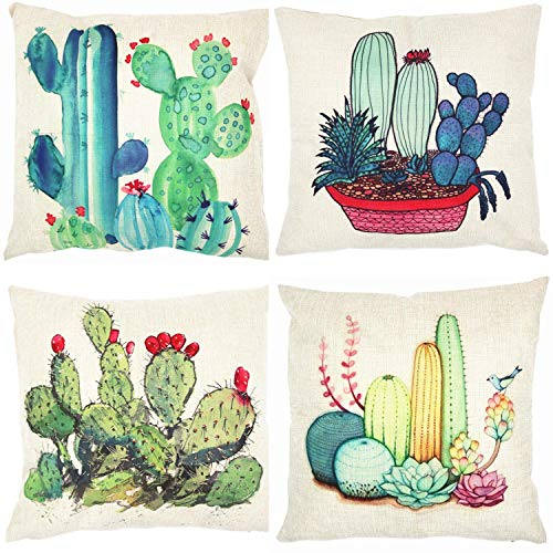 Summer Tropical Cactus Floral Decorative Throw Pillow Covers 18 x 18 inch Set of 4,ZUEXT Cotton Linen Burlap Square Outdoor Cushion Cover Pillow Case for Car Sofa Bed Couch Decor(Green Plants Flower)