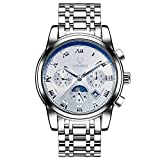 TEVISE Luxury Waterproof Automatic Mechanical Watch Moon Phase Stainless Steel Calendar Business Wristwatch