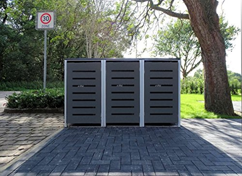 3 Mülltonnenboxen Modell No.6 Anthrazitgrau für 120 Liter Mülltonnen / witterungsbeständig durch Pulverbeschichtung / mit Klappdeckel und Fronttür