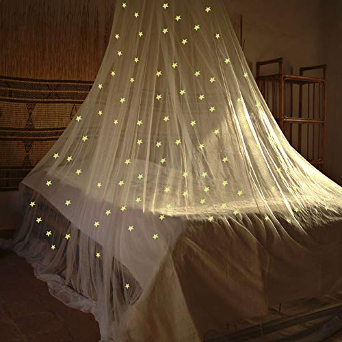 Bett Kuppel Baldachin Mesh Glitter Netz Stern Hängend Bett Baldachin Einfache Installation Hängendes Bett Baldachin Moskitonetz Bett Baldachin für Einzel bis Kingsize Betten (Weiß)