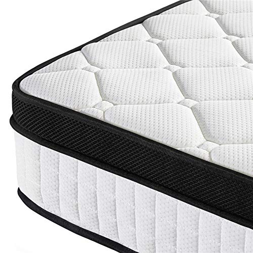 Yaheetech 3ft Single Mattress 10.6 Inch Pocket Sprung Mattress with Memory Foam and Quilted Knitted Fabric and Airy Mesh for Bedroom/Spare Room