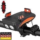 VAGAVDirect - Luz para bicicleta USB 4 en 1 recargable, con altavoz de 130 decibelios, banco de potencia 4000 Ma, soporte para teléfono móvil, 400 lúmenes, naranja