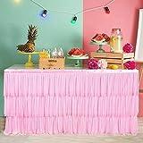 NSSONBEN Tulle - Funda para mesa de tutú (1,8 m), color rosa