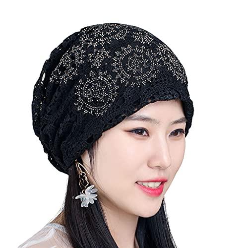 Colcolo Gorro de renda Chapéus Elastic Skull Headwear Stretchy Slouchy, quartos com ar-condicionado Sleep Hollow Hat Cover Cabelo branco com decoração de - Preto