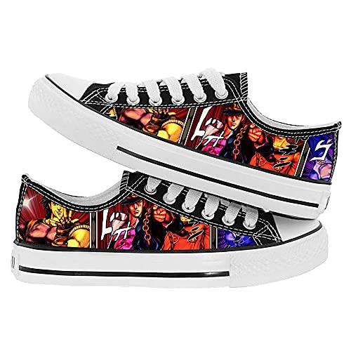 WOONN Zapatos Hombre Alpargatas Sneakers Hombre Deportivas Zapatillas Mujer Unisex Zapatos Lona Casuales Bambas Anime Shoes JoJo's Bizarre Adventure,35