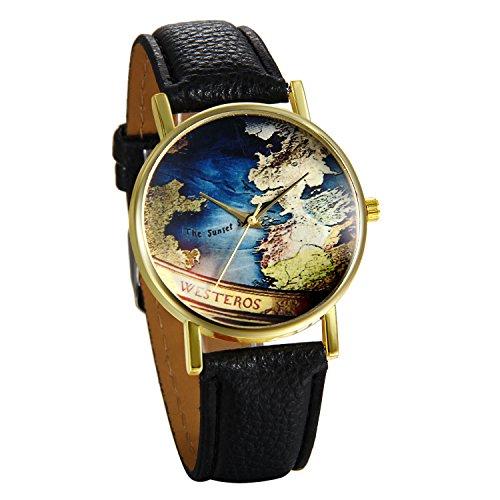 JewelryWe Damen Mädchen Armbanduhr, Retro Weltkarte Globus Karte Analog Quarz Uhr mit Leder Armband, Farbe: Schwarz