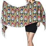 Bufanda grande para mujer con diseño de gnomo, puré de setas suave con tacto de cachemira, chales