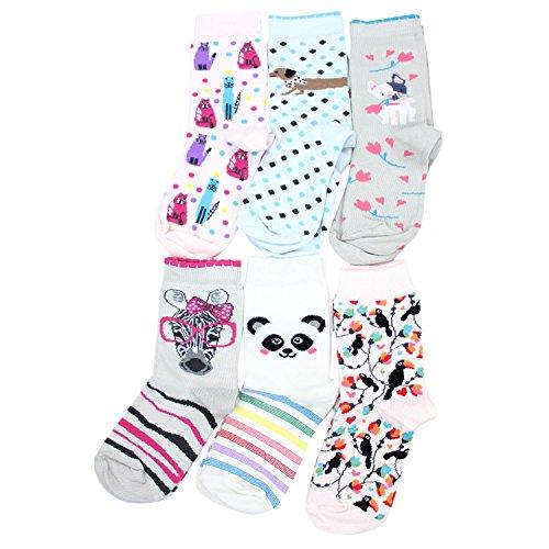 TupTam Kinder Socken Bunt Gemustert 6er Pack für Mädchen & Jungen, Farbe: Mädchen 4, Socken Größe: 27-30