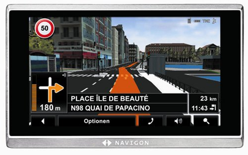 NAVIGON 8410 Navigationssystem (12,7 cm (5 Zoll) Display, West & Osteuropa (40 Länder), TMC Pro, Bluetooth, Real City 3D, Voice Interaction Pro)