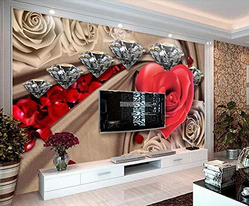Wqavten 3D-behang, romantisch, met strass-steentjes, roze 350 x 245 cm.