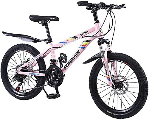 Bicicleta correpasillo niño Bicicleta para Niños De Acero De Alto Contenido De Carbono De 20 Pulgadas con Rueda De Entrenamiento   Regalo para Niños Y Niñas De 9 A 14 Años De Edad. (Color : Pink)