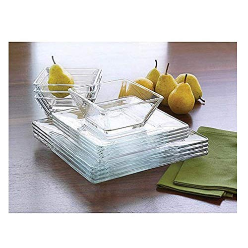 Mainstays 12-piece Square Glass Dinnerware Set (2 Sets)