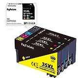PayForLess Cartuchos de tinta compatibles con Epson 35 35XL para Epson Workforce Pro WF 4720DWF WF 4725DWF WF 4730DTWF WF 4730DWF WF 4740DTWF (4 unidades), color negro, cian, magenta y amarillo