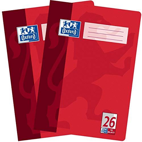Oxford Schulhefte, 2er Pack, DIN A4, kariert, 16 Blatt, rot