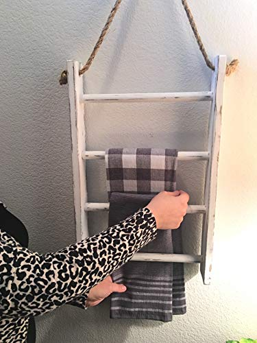 4-Tier Rope Ladder Decorative Hanging Wall Towel Blanket Quilt Shelf Rustic Farmhouse Decor Wood Handmade in USA Rack Towel Holder for Kitchen or Bathroom Vintage Shabby Chic.