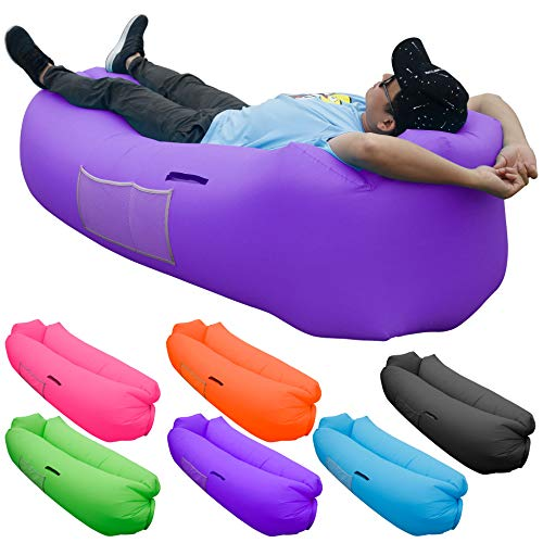 Inflatable Lounger Air Sofa, SKOLOO Portable Water Proof Anti-Air Leaking & Pillow-Shaped Designed Couch for Backyard Pool Travel Camping Hiking Lakeside Picnics Music Festivals Beach Parties,Purple