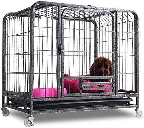 YUHT Hundekiste Hundeträger Metall Hundekiste Käfig Zwinger Zusammenklappbare Tierhütte mit Zwei Türen Schloss und Tablett für kleine Haustier Indoor Outdoor Schwarze Katze Allzweck (Farbe: Silbe