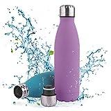 Botella de Agua Acero Inoxidable-500ml/750ml,Aislada al Vacío de Conserva Frío...
