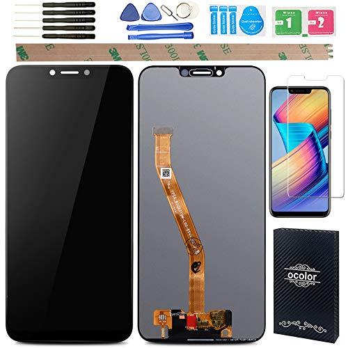 YHX-OU Huawei Honor Play - Pantalla LCD de 6,3 pulgadas + digitalizador de pantalla táctil para Honor Play COR-L29 COR-AL10 COR-AL00 + 1 pieza de cristal templado (negro)
