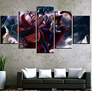 HD Printed 5 Pieces Print Picture Poster Dragon Ball Z Goku vs Vegeta for Modern Decorative Bedroom Living Room Home Wall Art