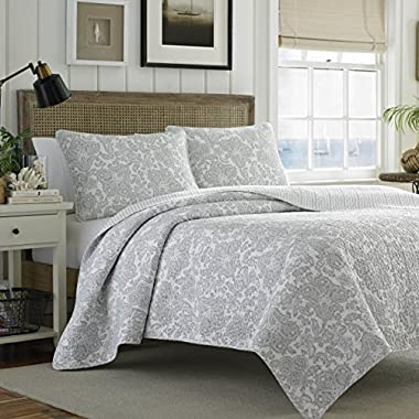 Tommy Bahama Island Memory Gray Quilt Set, Full/Queen, Pelican Gray