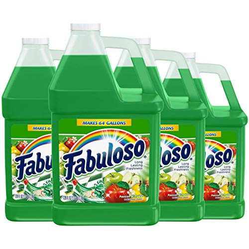 FABULOSO All Purpose Cleaner, Passion of Fruits, Bathroom Cleaner, Toilet Cleaner, Floor Cleaner, Shower and Glass Cleaner, Mop Cleanser, Kitchen Pots and Pans Degreaser, 128oz (Pack of 4) (153060)