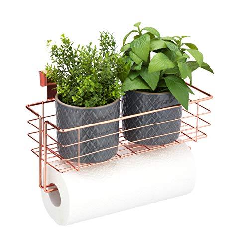 Relaxdays Einhängekorb mit Küchenrollenhalter, Aufbewahrung, Küche & Badezimmer, Drahtkorb HBT: 18 x 31 x 17 cm, kupfer