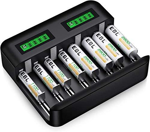 Chargeur EBL avec 4 piles rechargeables AA, 2800mAh + 4 piles AAA, 1100mAh