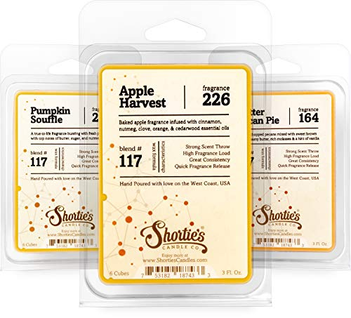 Shortie's Candle Company Fall Wax Melts Variety Pack - Pumpkin Souffle, Butter Pecan Pie, Apple Harvest - Formula 117-3 Highly Scented 3 Oz. Bars - Made with Natural Oils - Fall Warmer Wax Cubes