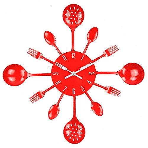 Timelike Orologio da parete da 40,6 cm in metallo da cucina posate utensile, forchetta, orologio da parete creativo e moderno, stile antico, orologio da parete (rosso)
