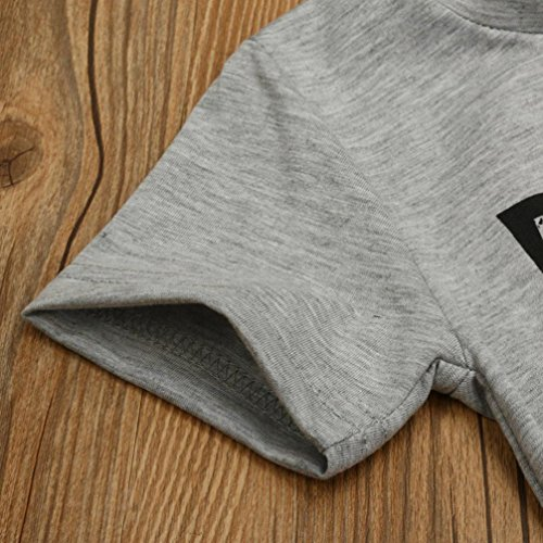 Kids Children Baby Boys Stripe Letter Printed Cotton Short Sleeve Blouse Tops T-Shirt Kids Clothes Outfit 1-4T (Gray, 4T)