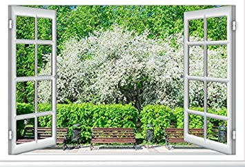 10x7ft White Windowsill Backdrop Vinyl Photography Background Window Curtains Outdoor Spring Blooming Trees Blue Curtain Landscape Grass Field Wedding Background Portrait for Photo Studio