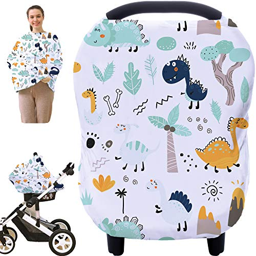 Multi-use Carseat Canopy Cover - Breathable Nursing Cover Breastfeeding Covers, Nursing Scarf, Car Seat Covers for Babies, Stroller Canopy Cover (Cute Dinosaur)