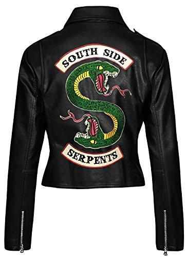 LP-FACON Riverdale Southside Serpents - Giacca da motociclista da donna con logo serpente nero Vera pelle nera. Small-38