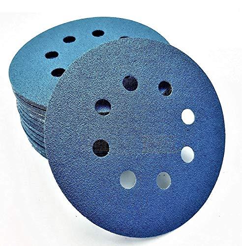 KAHEIGN 60 Pz 125mm Dischi Abrasivi, Grana 120/240/320/400/600/800 8 Fori 5 Pollici Tamponi Di Levigatura Rotondi, Hook And Loop Carta Vetrata Per Levigatrici Random Orbital E Da (blu)