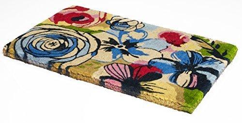 Handwoven, Extra Thick Doormat | Durable Coir, Easy Clean, Stylish | Entryway Door mat for Patio, Front Door | Decorative All-Season | Watercolor Floral | 18' x 30' x 1.60'