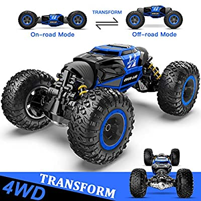 BEZGAR Toy Grade1:14 Scale Remote Control Crawler, 4WD Transform 15 Km/h All Terrains Electric Toy Stunt Cars RC Monster Vehicle Truck Car with Rechargeable Batteries for Boys Kids Teens and Adults