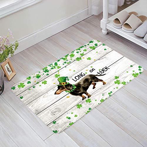 Alfombra estera del piso Tapetes Felpudo Día de San Patricio Perro Dachshund Long on Luck Lucky Clover Swirls Wood Grain alfombras 40X60CM