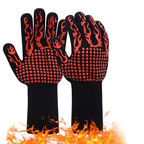 JSDing Guantes de Barbacoa Resistentes al Calor 800 ° C/1472 ° F | Guantes de Cocina Horno 1 Par | Guante Silicona Antideslizante para Horno Microondas y Parrilla,Cocinar Chimenea Hornear