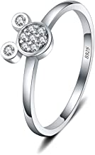 AIM Jewelry LGSY Cute Mini Mouse Statement Rings for Women Grils Sterling Silver, Cubic Zirconia Rings for Adorable Gift