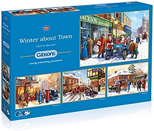 solo para ti Gibsons G5043 Winter about about about Town Jigsaw Puzzle (4 x 500-Piece) by Gibsons  70% de descuento