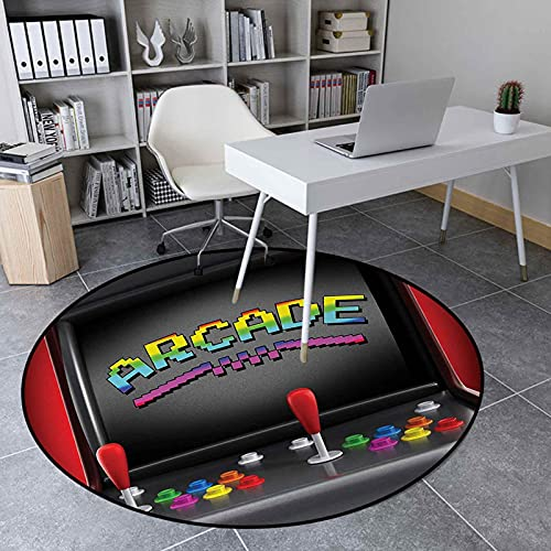 Circle Rug 2.95 Ft Non-Slip Round Mat for Living Room, Arcade Machine Retro Gaming Fun Joystick Buttons Vintage 80s 90s Electronic, Multicolor