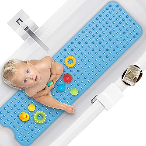 RenFox 100 x 40 cm Duschmattem, Antirutschmatte Badewanne mit Saugnapf, Kein Chemie-Geruch Oder Sicher PVC Badewannenmatte, Extra lang, Maschinenwaschbar(Blau)